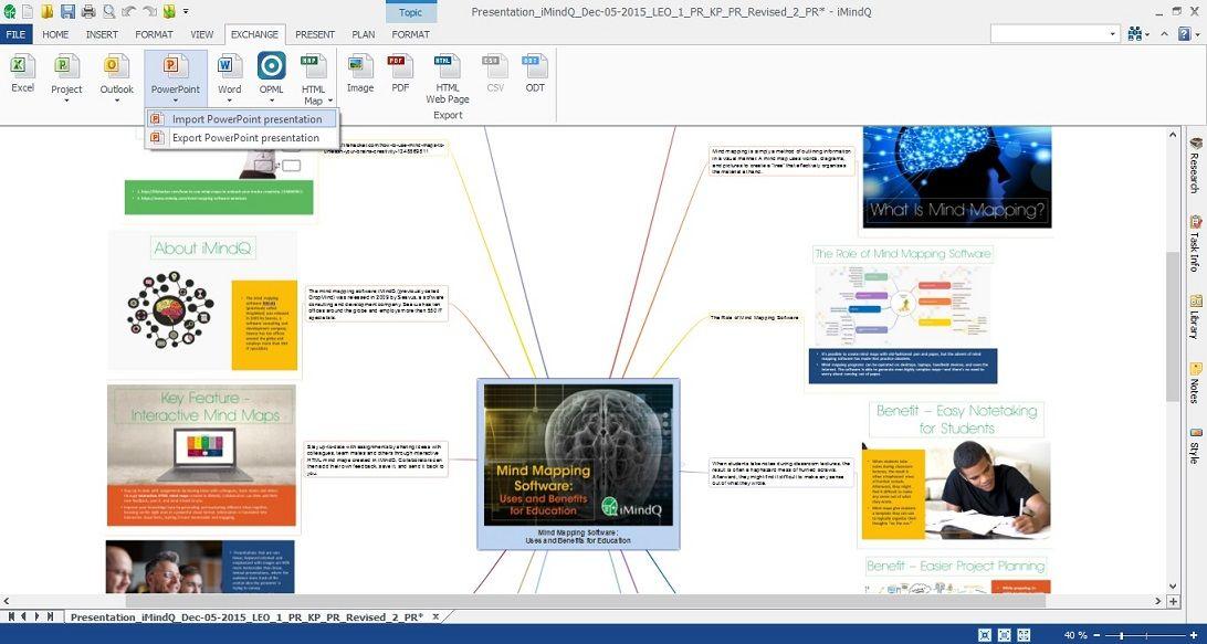 iMindQ 8.0 - Powerpoint presentation import to mindmap