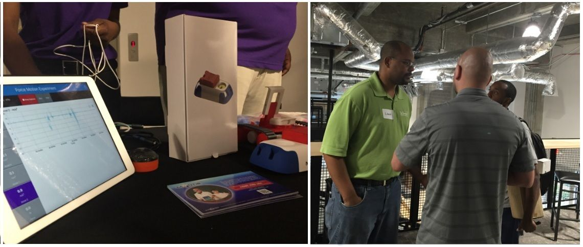 Mantis booth at Tech Square Job Fair - CEO Laron Walker and Tech students