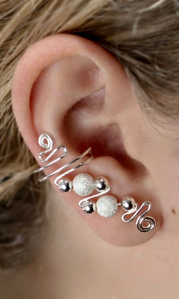 Sterling Silver ear cuff design, sold as a pair