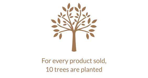 For every product sold, 10 trees are planted