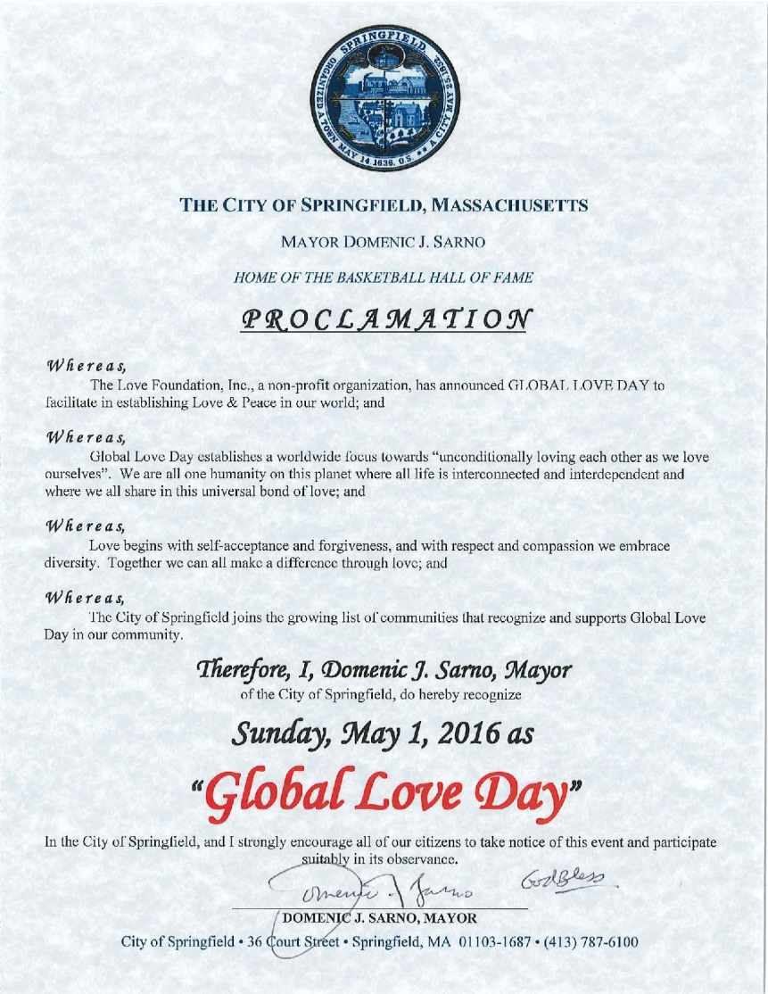 Global Love Day 2016 Proclamation