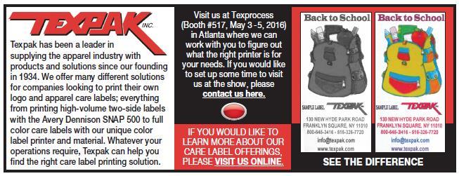 Texpak Exhibiting at Texprocess Americas 2016