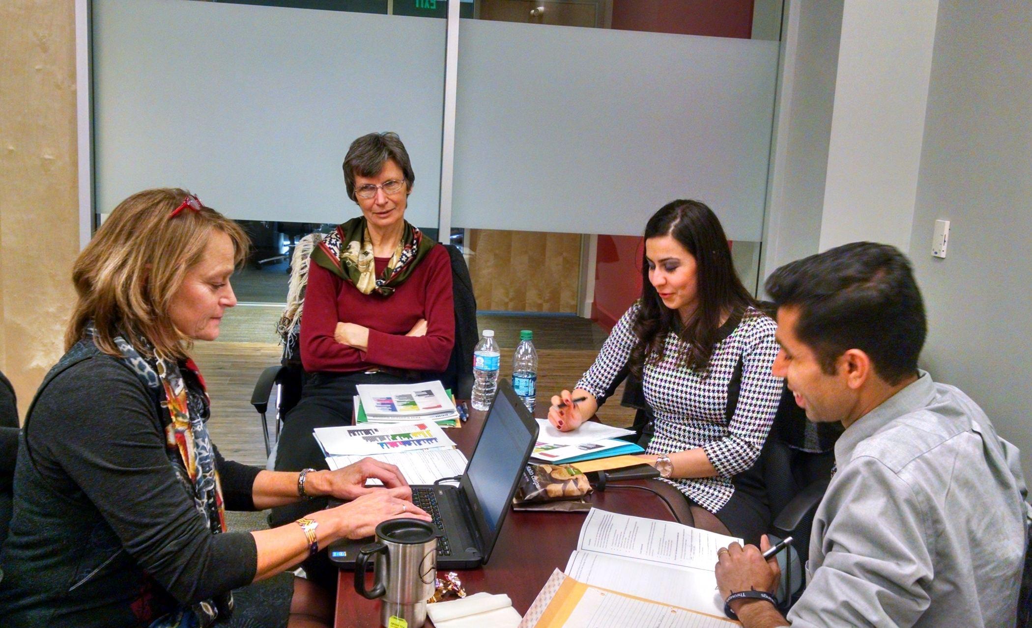 JTA panelists wokring on the survey draft