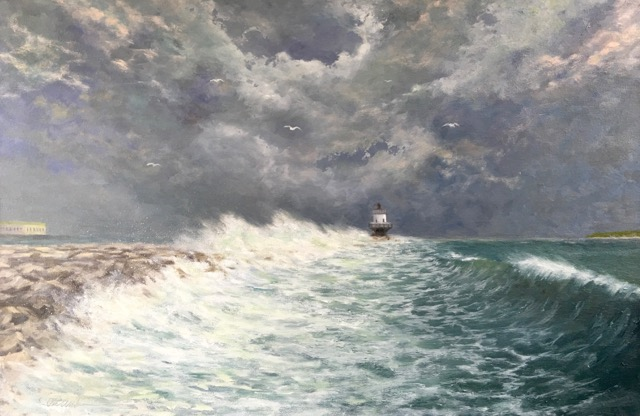 "Rob Anderson ~ ""Storm Surge at Spring Point"" ~ Oil on Canvas 24"" x 36"""