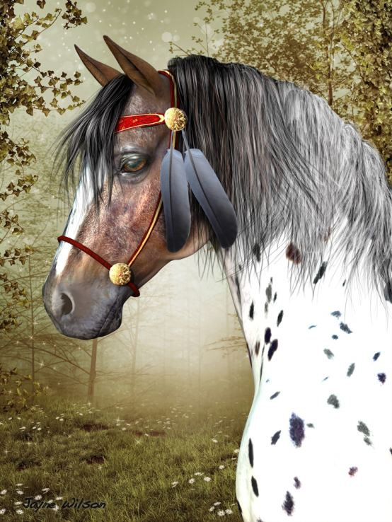 "Jayne Wilson, Tomball, TX, ""Indian Pony"", Digital Rendering on Canvas"