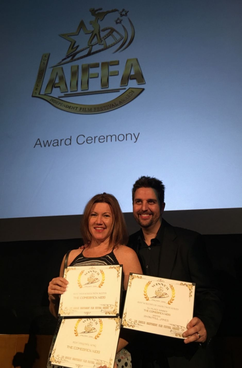 Disney and James receiving three awards at LAIFFA in early 2016