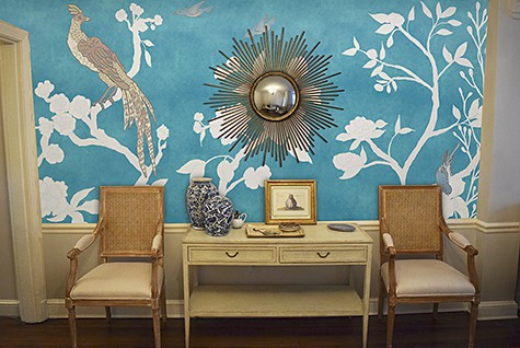 Chinoiserie Mural Panels White-Asia Blue Room View