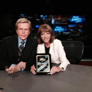 Doug Llewelyn & Lisa Philp on the set