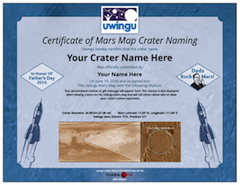 An Uwingu Mars Crater Naming Certificate for 2016 at www.uwingu.com