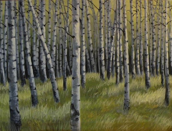 "Amy Bickford ~ ""Birch Grove"" ~  Acrylic Based Gouache on Gesso Board 18"" x 24"""