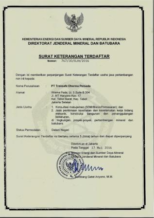 SKT ESDM Transafe Indonesia