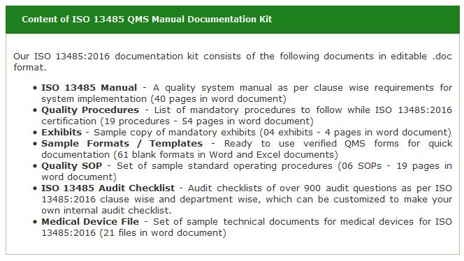 ISO 13485:2016 Documentation Kit Introduced Online by Global