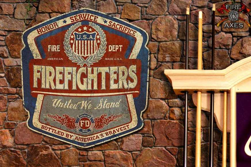 ERA060-Firefighters-United-We-stand-Vintage-Sign-A