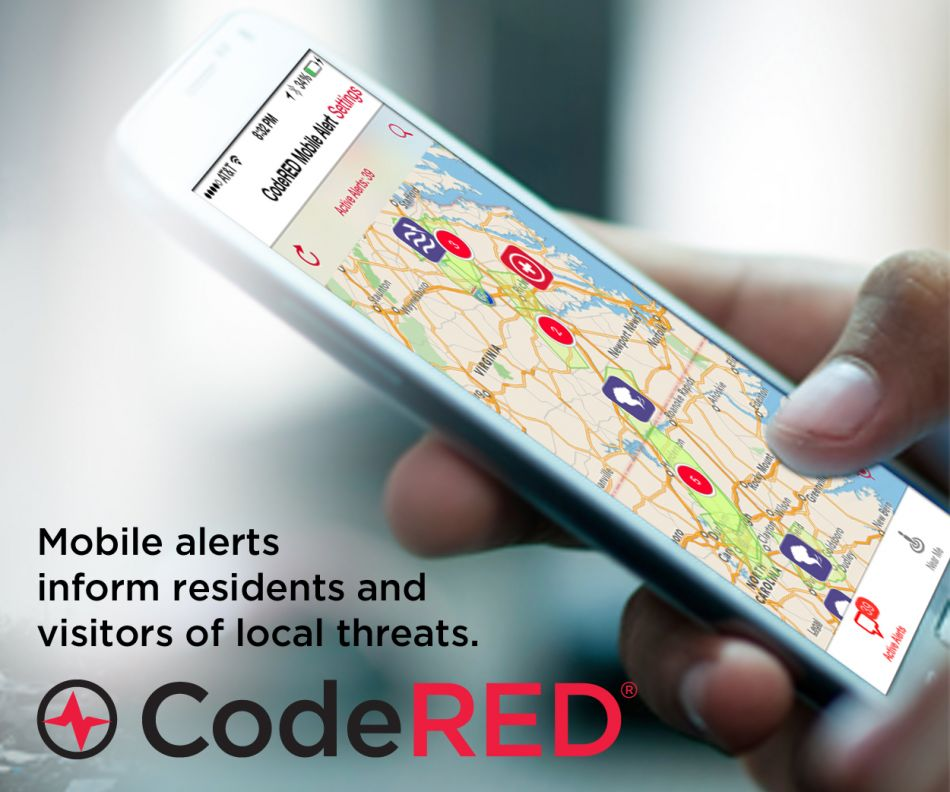 Download CodeRED Mobile Alert app and be informed of  notifications on the go