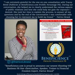 Beneficience.com PR Announces New PR Client Author & Speaker Patrice Brand