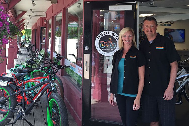 Pedego Breckenridge owners Liz LaBelle and Paul Mutch are ready to cruise.