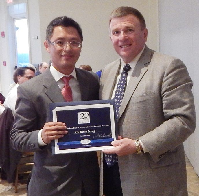 Boston Mutual CEO Paul Quaranto, Jr. with 20 Plus Club inductee Kin Hong Leong