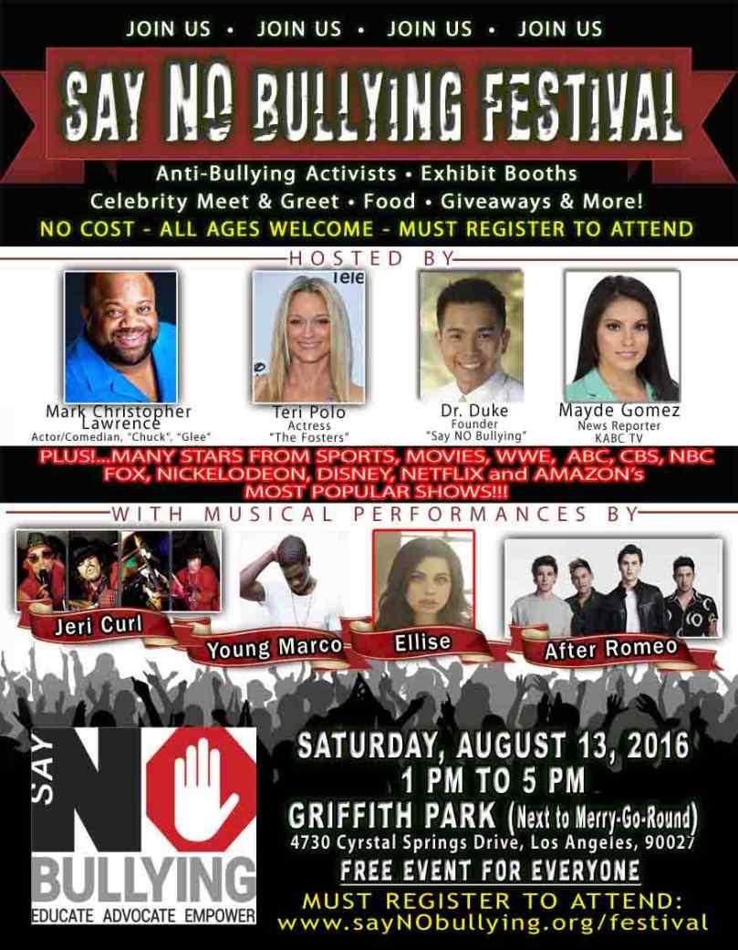 La Say No Bullying Festival To Unite Community Say No Bullying