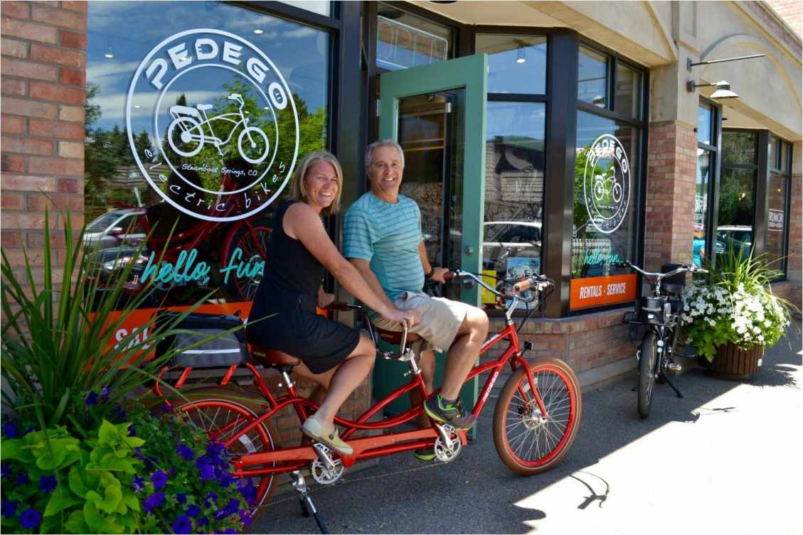 Owners Linda John and Bruce Caplow opened Pedego Steamboat Springs.