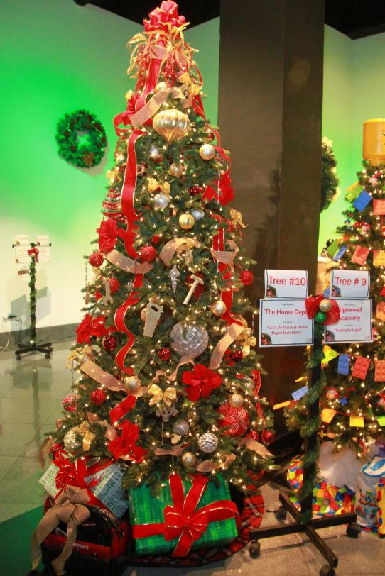 About two dozen trees are decorated by sponsors and raffled at festival's end.
