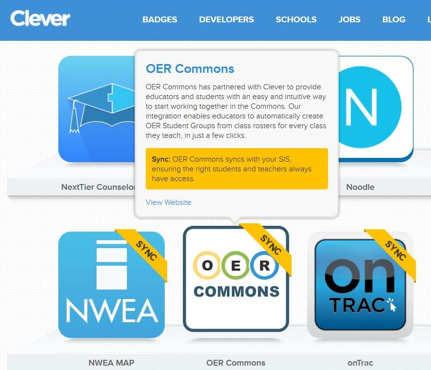OER Commons and Clever Integration