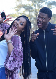 Actress Ernestine Johnson with Actor-Comedian, D.C. Young Fly on set