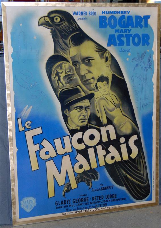 Late 1940s post-WWII release French grande poster for The Maltese Falcon.