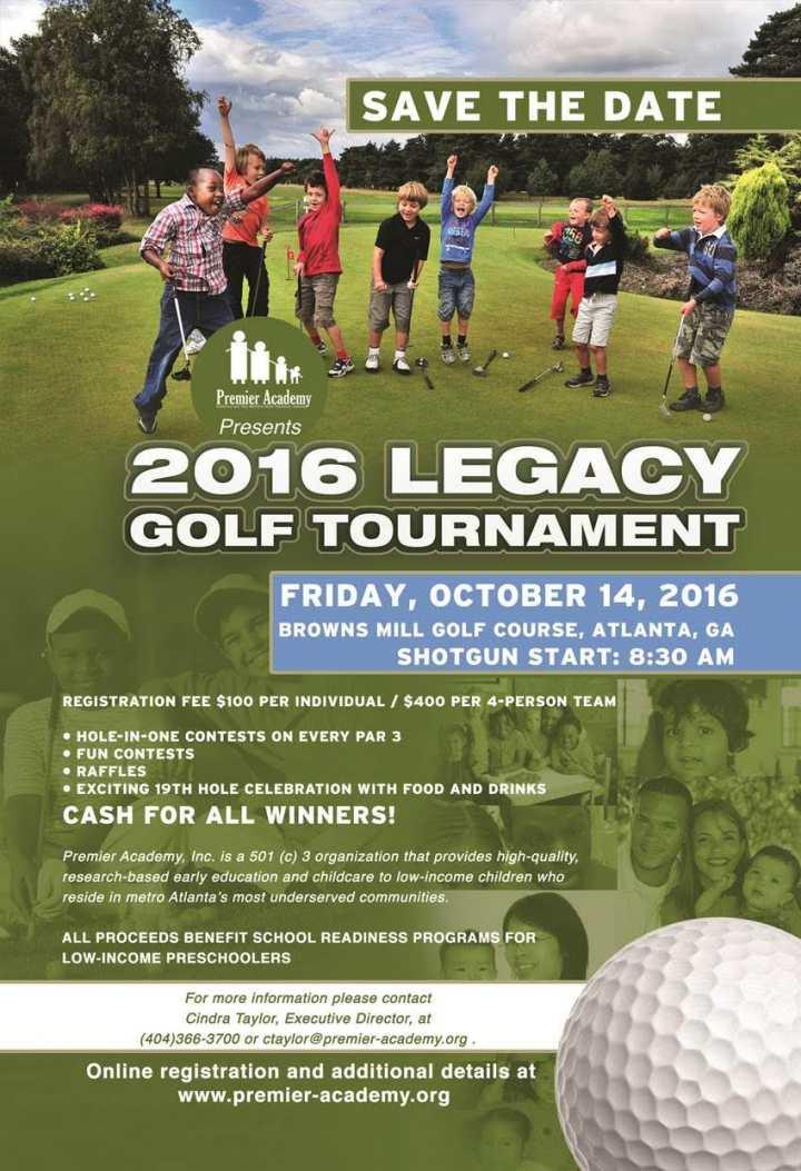 Premier Academy Golf Tournament Flyer