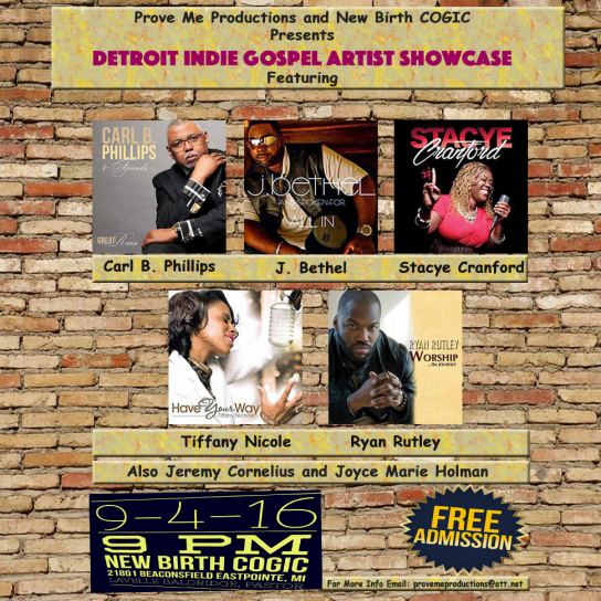 Detroit Indie Gospel Artist Showcase hosted by Carl B. Phillips