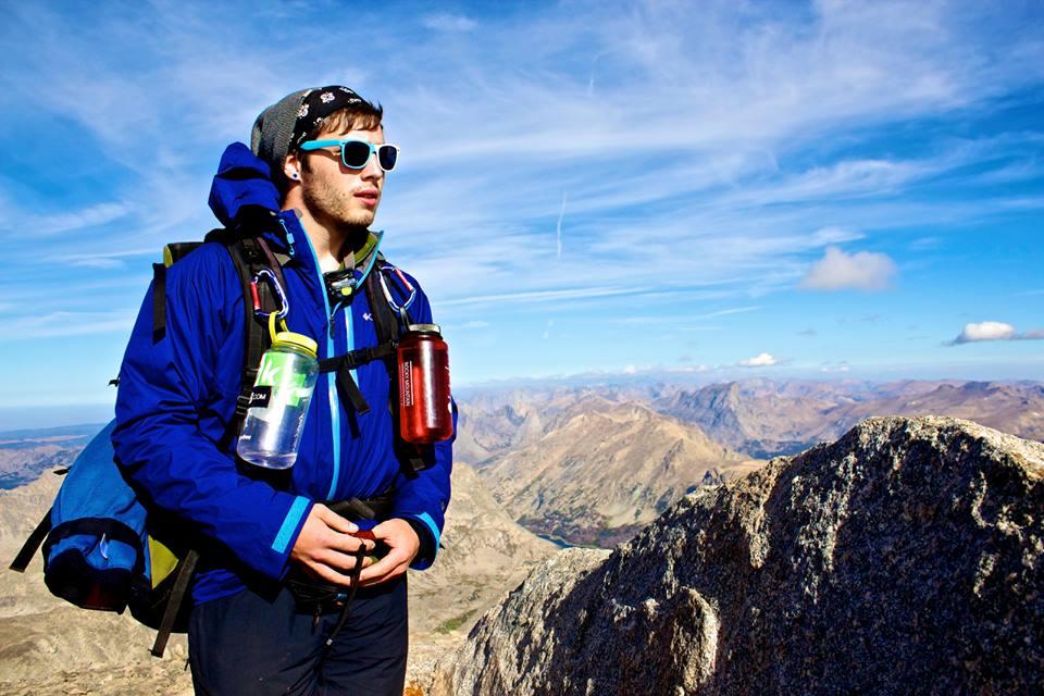 Poet & outdoor adventurer Chris Julian Vanderslice atop Wind River Peak, Wyoming