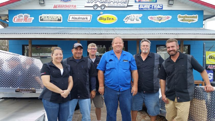 The Best Price Trailers sales team at its lot in Holly Hill, FL.