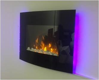 Color flames and side leds wall mounted electric fire store prlog