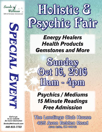 Holistic & Psychic Fair on Oct 16 in Avon Lake, OH
