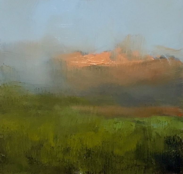 "Rabee Kiwan ~ ""Orange Cloud II"" ~ Oil on Panel 6"" x 6"""