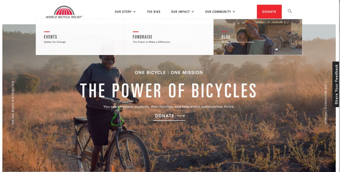 The homepage of World Bicycle Relief's redesigned website