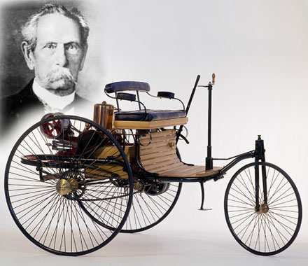 Karl Benz with first motor vehicle