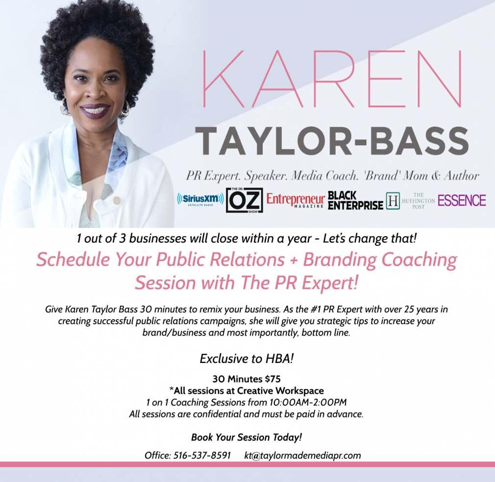 Karen Taylor Bass, PR Expert offers coaching at HBA