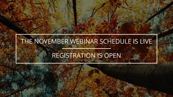 November Webinar Schedule