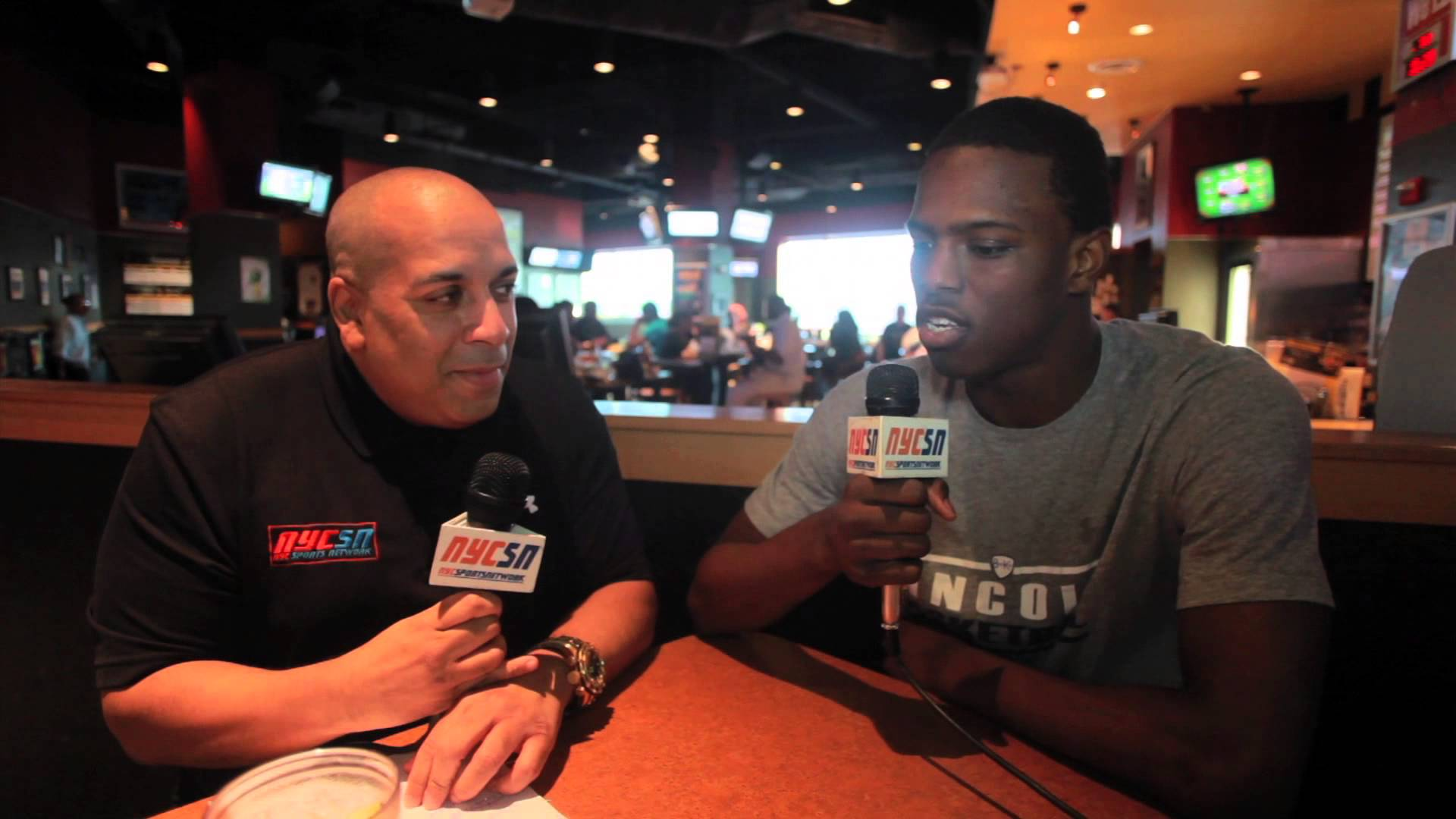 Joby Smith of NYCSN interviews Isaiah Whitehead at Buffalo Wild Wings