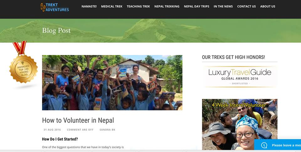 Trekt's Medical Trek Nepal Blog wins Top 100 Hiking Blogs on The Planet Award