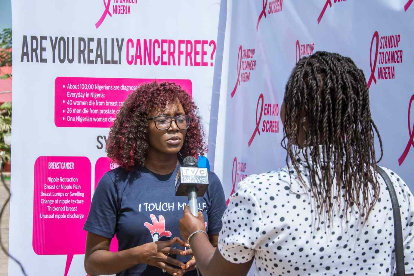 Dr Abiodun talking to the press about the event