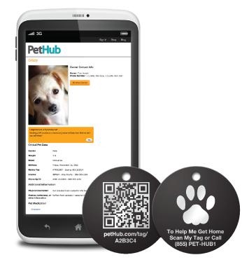 Optional pet ID tag links to same free profile
