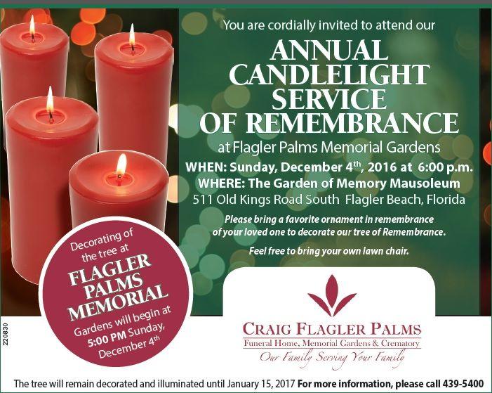 Craig Flagler Palms will host their annual memorial tree lighting ceremony Dec 4