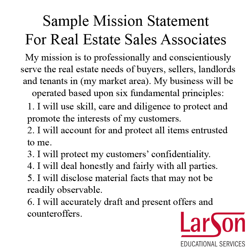 A sample mission statement from Florida real estate school LarsonEd