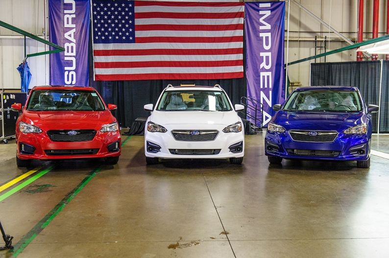 Three SIA built Subaru Imprezas featured at a start of production ceremony.
