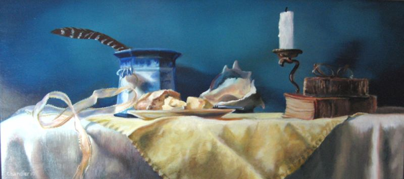 """Pat Chandler ~ 'Diana's Table' ~ Oil on Panel 10"""" x 20"""""""
