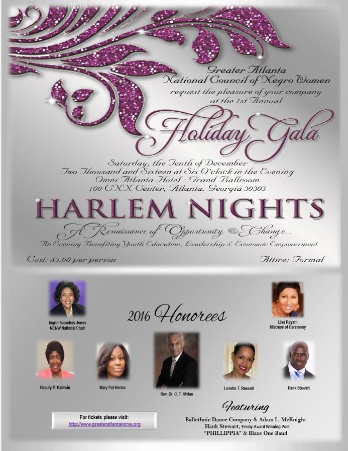 NCNW Harlem Nights Holiday Gala Flyer 2016