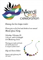 Mardi Gras Invitations for Fat Tuesday Party