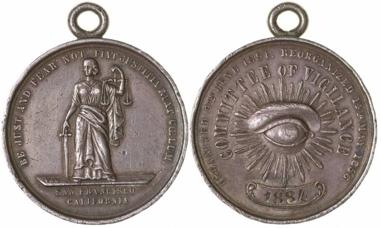 Very rare 1856 San Francisco Committee of Vigilance silver medal.