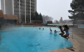 A heated indoor-outdoor swimming pool welcomes winter frolicking.